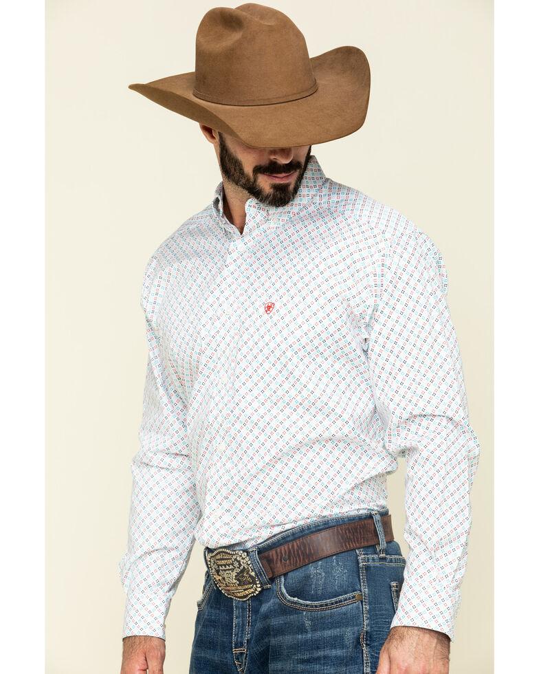 Ariat Men's Sausalito Geo Print Long Sleeve Western Shirt , White, hi-res