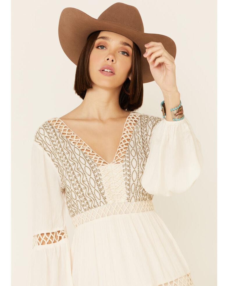 Shyanne Women's Off White Embroidered Lace Peasant Dress, Off White, hi-res