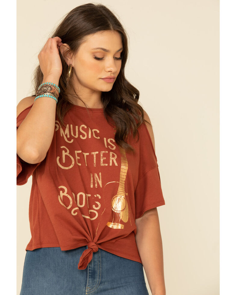 White Crow Women's Brown Music Is Better In Boots Cold Shoulder Top, Brown, hi-res