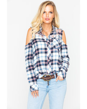 Idyllwind Women's Cowgirl Diaries Flannel Top, Ivory, hi-res