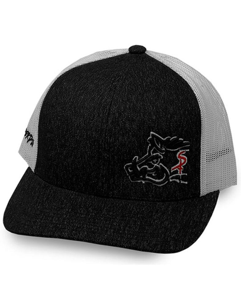 Oil Field Hats Men's Heather Black Sniper Pig Mesh-Back Ball Cap , Black, hi-res