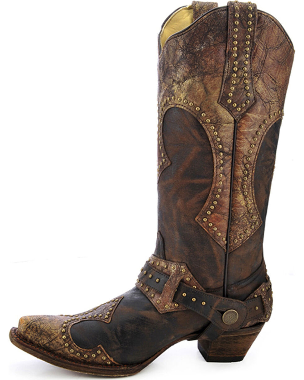 Corral Women's Studded Harness Cowgirl Boots - Snip Toe, Brown, hi-res