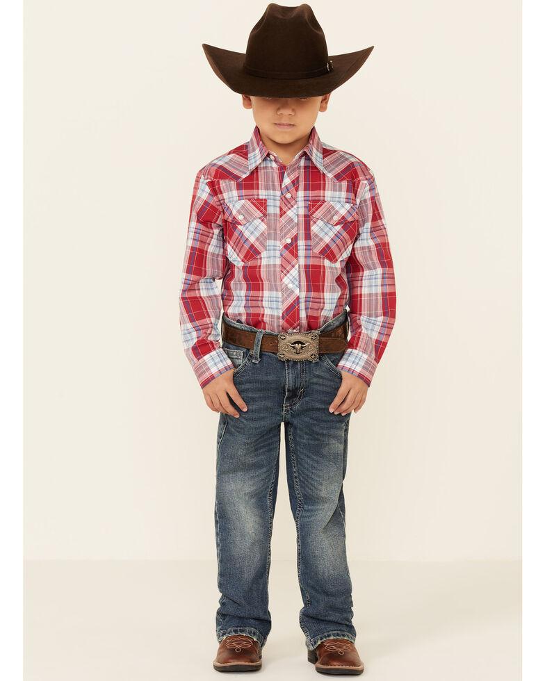 Roper Boys' Red Plaid Long Sleeve Snap Western Shirt , Red, hi-res