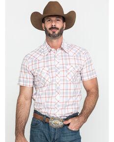 Rock & Roll Cowboy Men's Orange Plaid Short Sleeve Western Shirt , Orange, hi-res