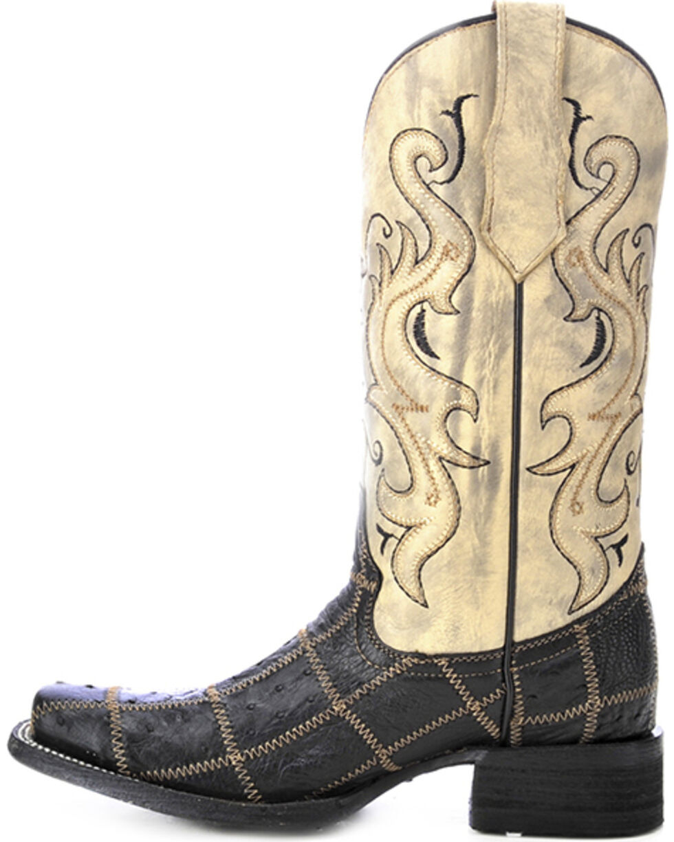 Circle G Ostrich Patchwork Cowgirl Boots - Square Toe, Black, hi-res