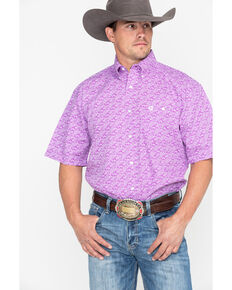 420534f119 George Strait by Wrangler Men s Purple Paisley Short Sleeve Western Shirt