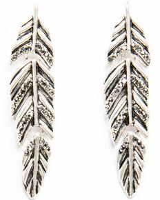 Shyanne Women's Moonlit Linked Feather Earring , Silver, hi-res