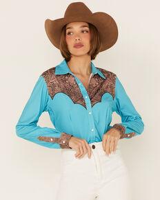 Ranch Dress'n Women's Solid Teal Tooled Yoke Long Sleeve Snap Western Core Shirt , Teal, hi-res