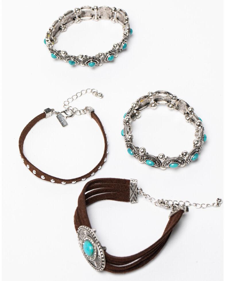 Shyanne Women's Blue Falls Suede Concho Multi Bracelet Set, Silver, hi-res