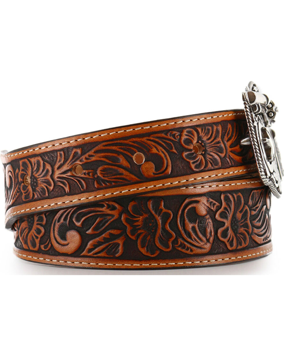 Justin Kids' Tooled Leather Belt, Brown, hi-res