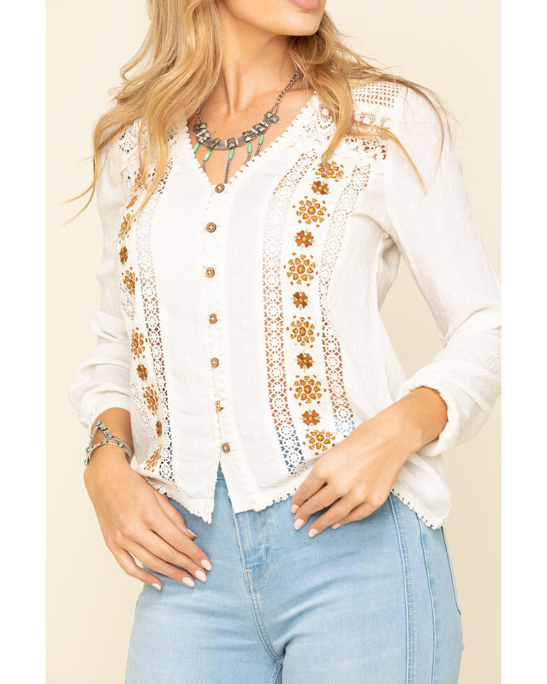 Idyllwind Women's Wildwood Lace Embroidered Long Sleeve Top, Natural, hi-res