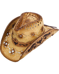 Western Express Men's Callahan Steer Design Straw Hat, Tan, hi-res