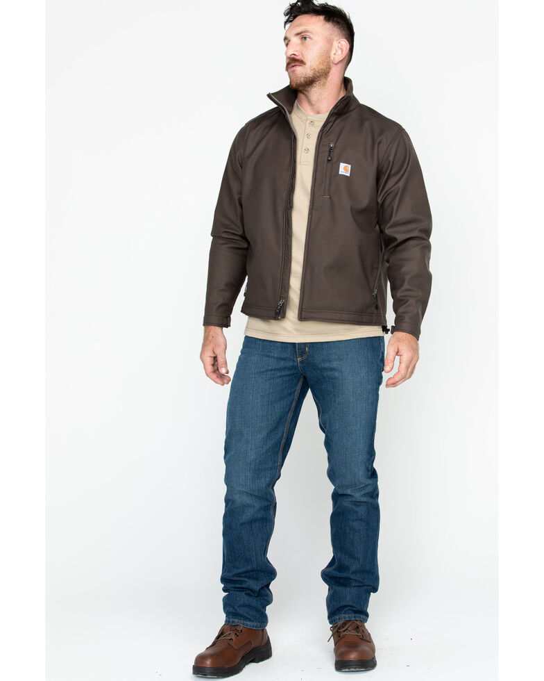 Carhartt Men's Pineville Softshell Work Jacket, Dark Brown, hi-res