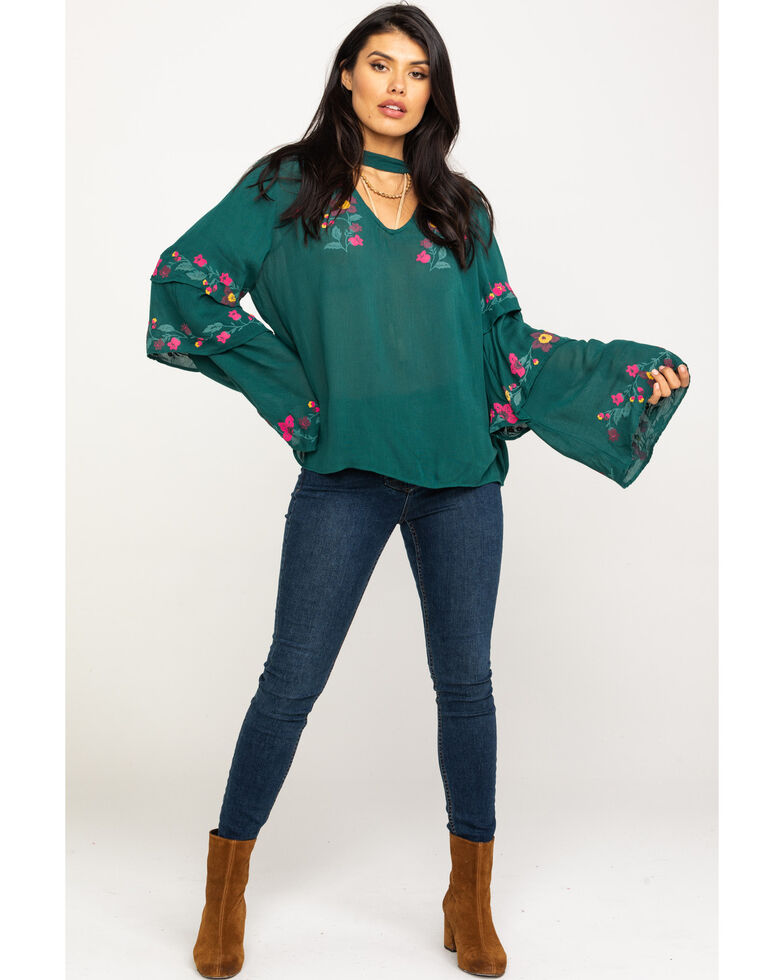 Rock & Roll Denim Women's Pine Tiered Floral Embroidered Top, Tan, hi-res
