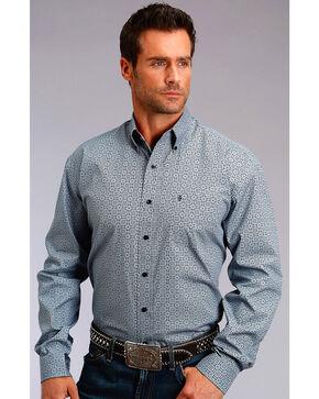 Stetson Men's Grey Geo Print Long Sleeve Western Shirt , Grey, hi-res