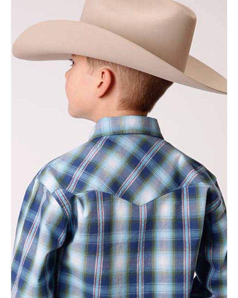 Roper Boys' Blue Dobby Plaid Long Sleeve Snap Western Shirt , Blue, hi-res