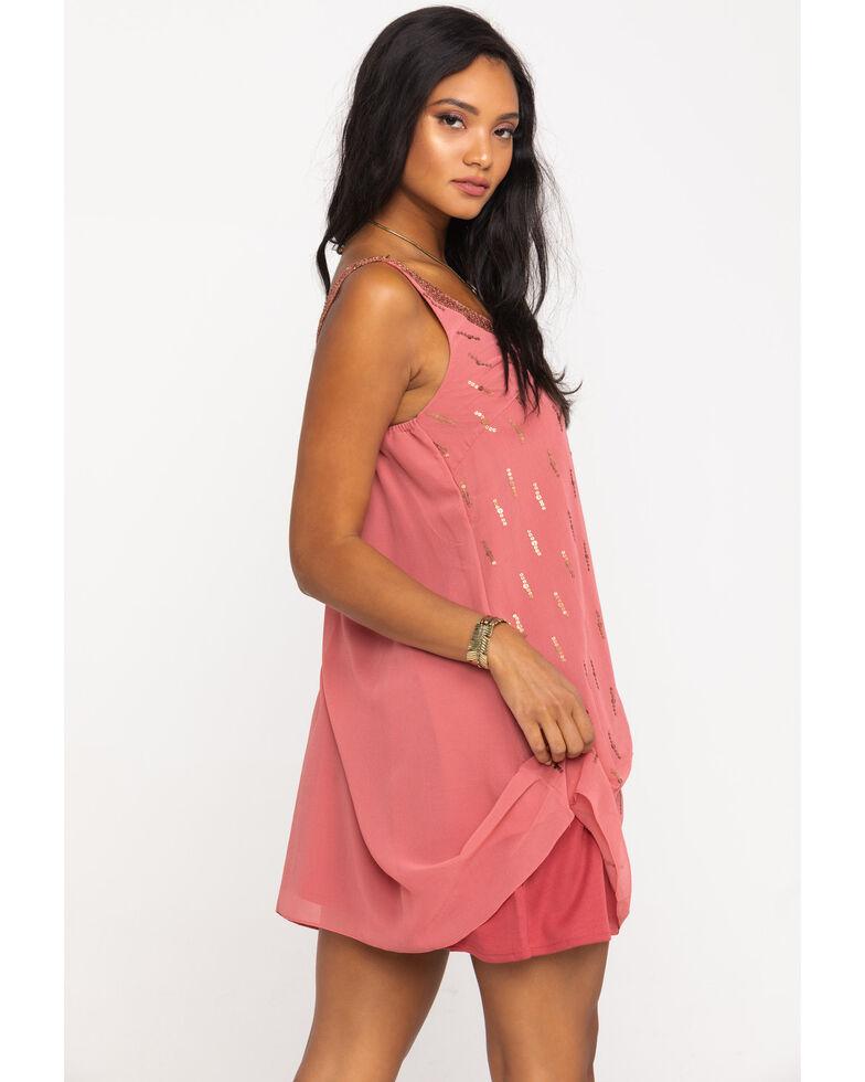 Angie Women's Mauve Matte Sequin V-Neck Dress, Mauve, hi-res