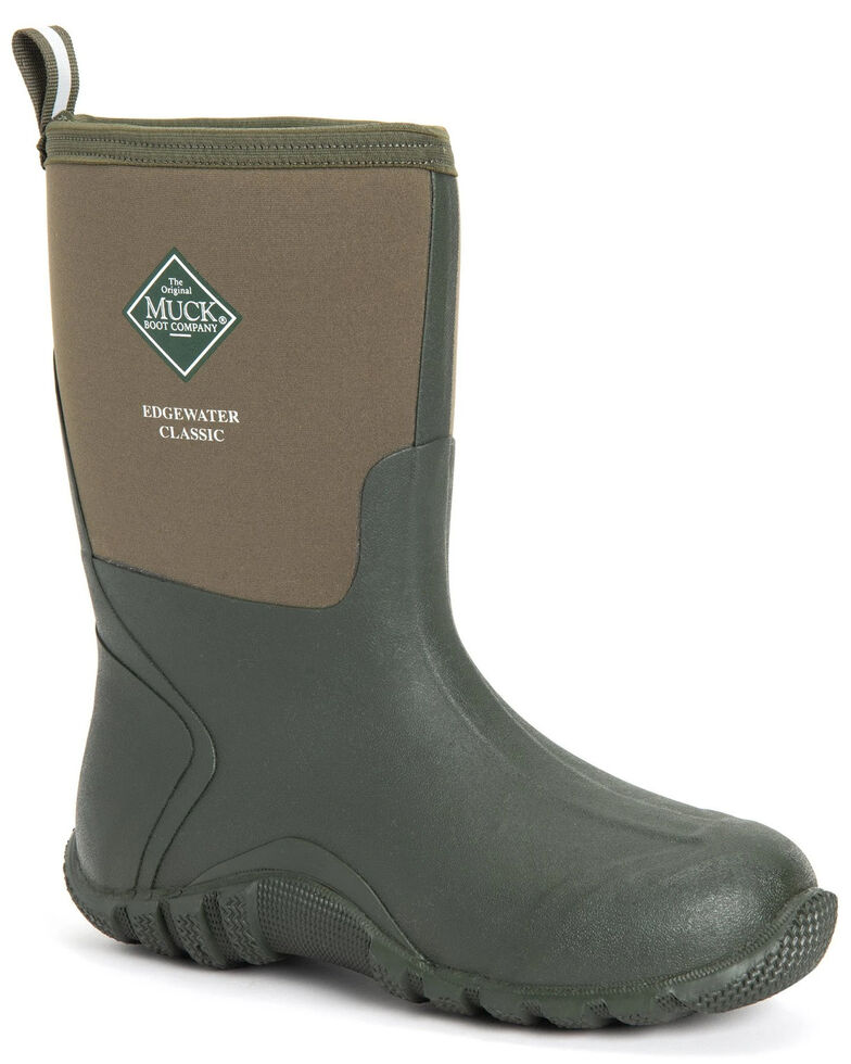Muck Boots Men's Edgewater Classic Rubber Boots - Round Toe, Green, hi-res