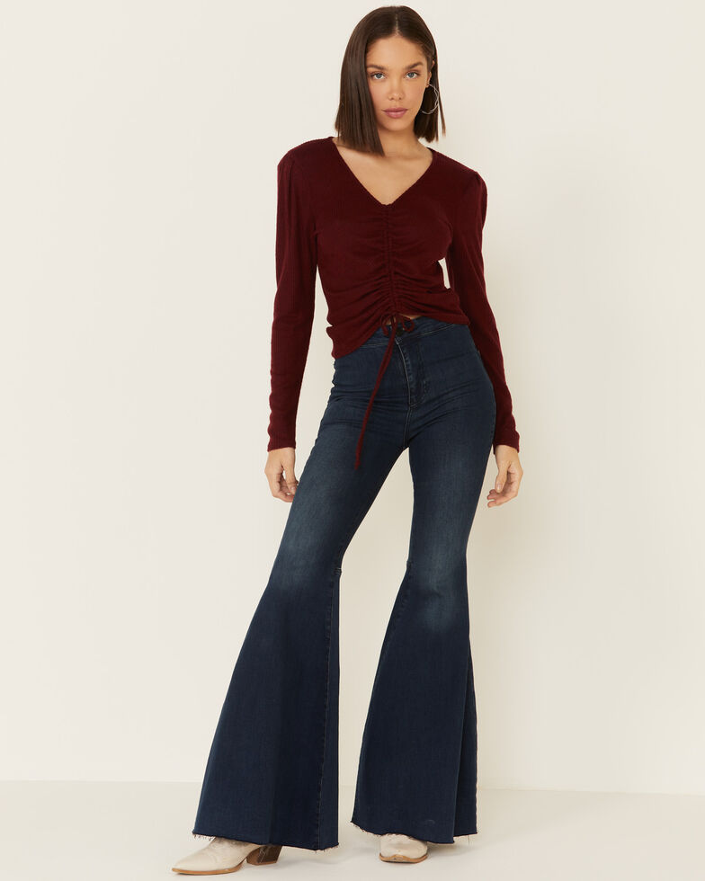 Moa Moa Women's Cinch Front Brushed Hacci Ribbed Top , Burgundy, hi-res