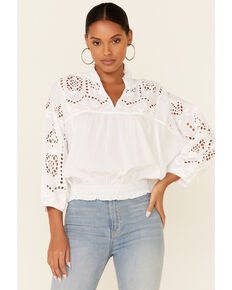 Cotton & Rye Outfitters Women's White Eyelet Smock Waist Long Sleeve Top, White, hi-res