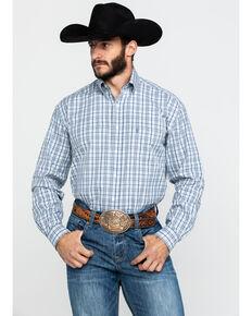 Stetson Men's Mist Check Plaid Button Long Sleeve Western Shirt , Blue, hi-res