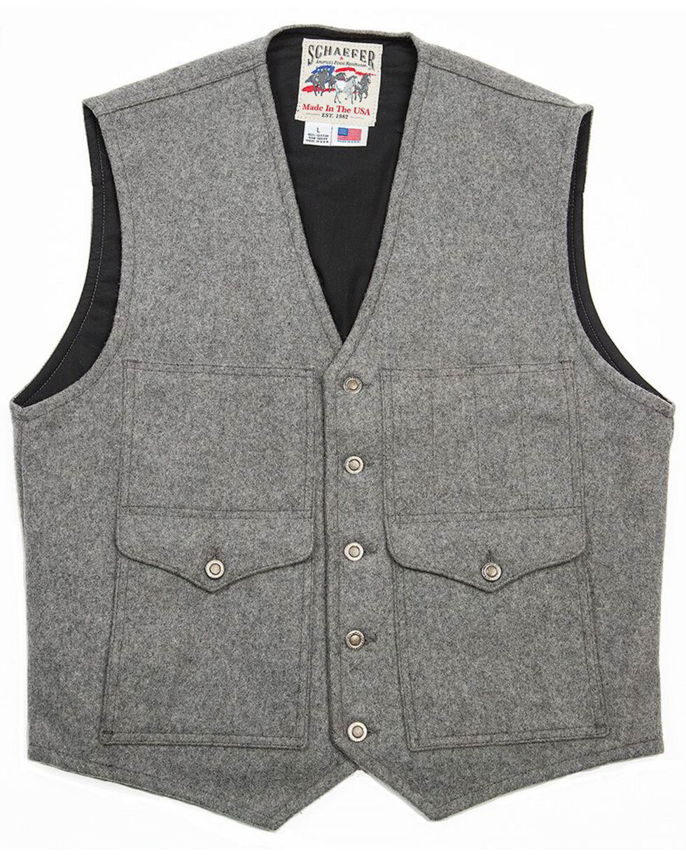 Schaefer Outfitter Men's Scout Melton Wool Vest , Heather Grey, hi-res
