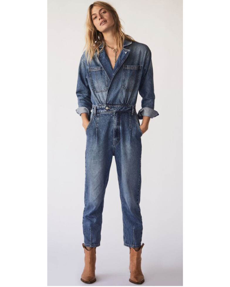 Free People Women's Blue Denim Maris Coverall Dress, Blue, hi-res