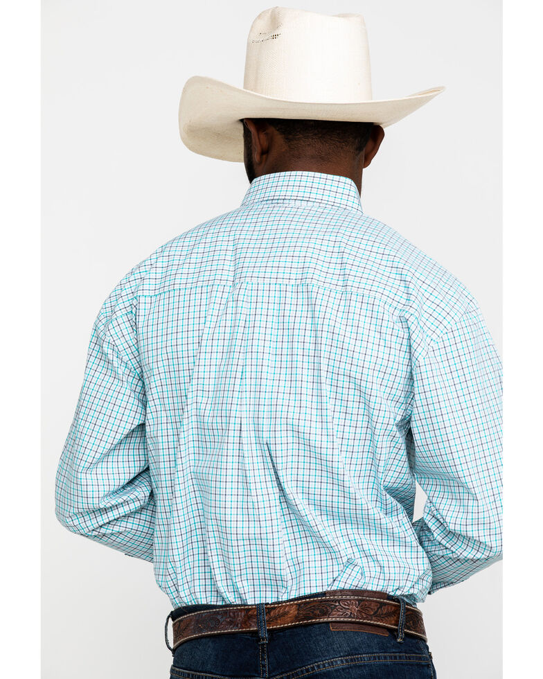 George Strait by Wrangler Men's Emerald Small Plaid Long Sleeve Western Shirt , Green, hi-res