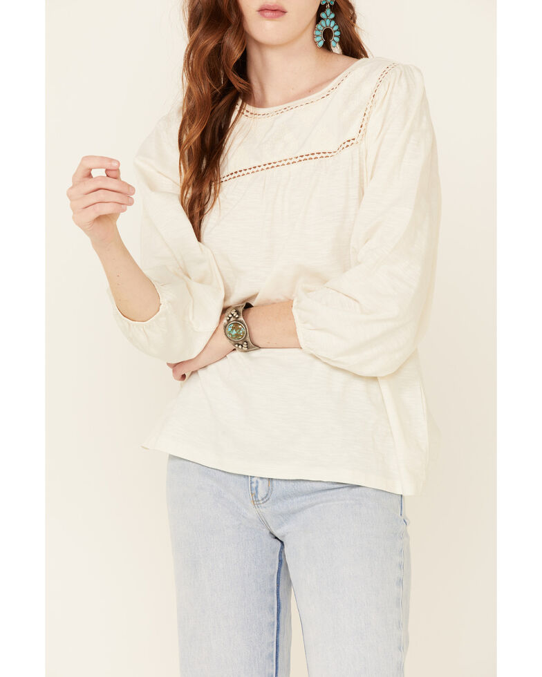 Ariat Women's Ivory Mojave Long Sleeve Tunic Top , Ivory, hi-res