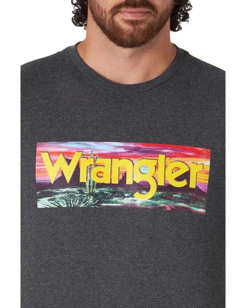 Wrangler Men's Grey Logo Desert Scene Bar Graphic T-Shirt , Grey, hi-res