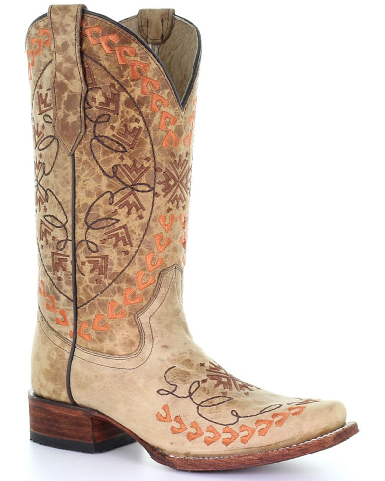 Circle G Women's Straw Embroidered Western Boots - Square Toe, Multi, hi-res