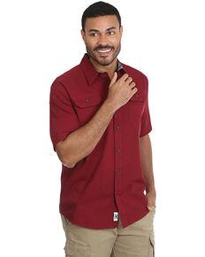 Wrangler Men's Red Solid Twill Short Sleeve Western Shirt - Big , Red, hi-res