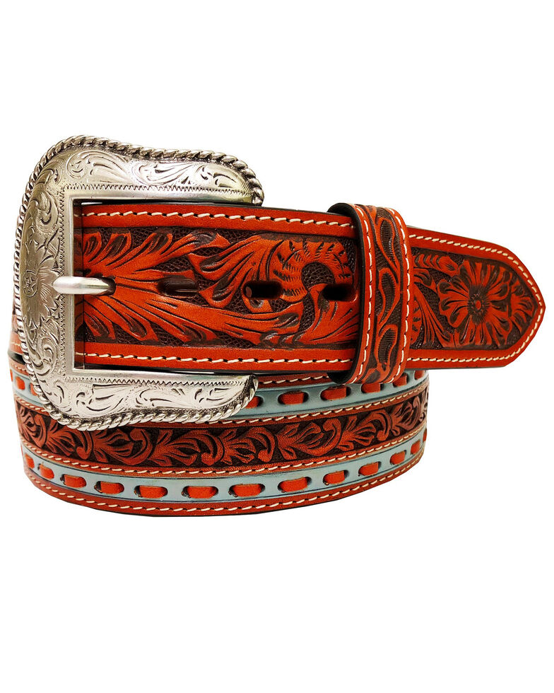 Roper Men's Tan Floral Tooled Leather Belt , Tan, hi-res