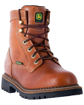 "John Deere Men's 6"" Waterproof Logger Boots - Steel Toe, Mahogany, hi-res"