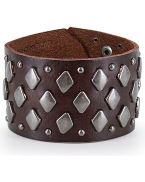 Moonshine Spirit Men's Studded Leather Cuff , Dark Brown, hi-res