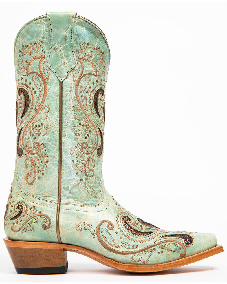 Shyanne Women's Broched Cafe Bronco Western Boots - Snip Toe, Teal, hi-res