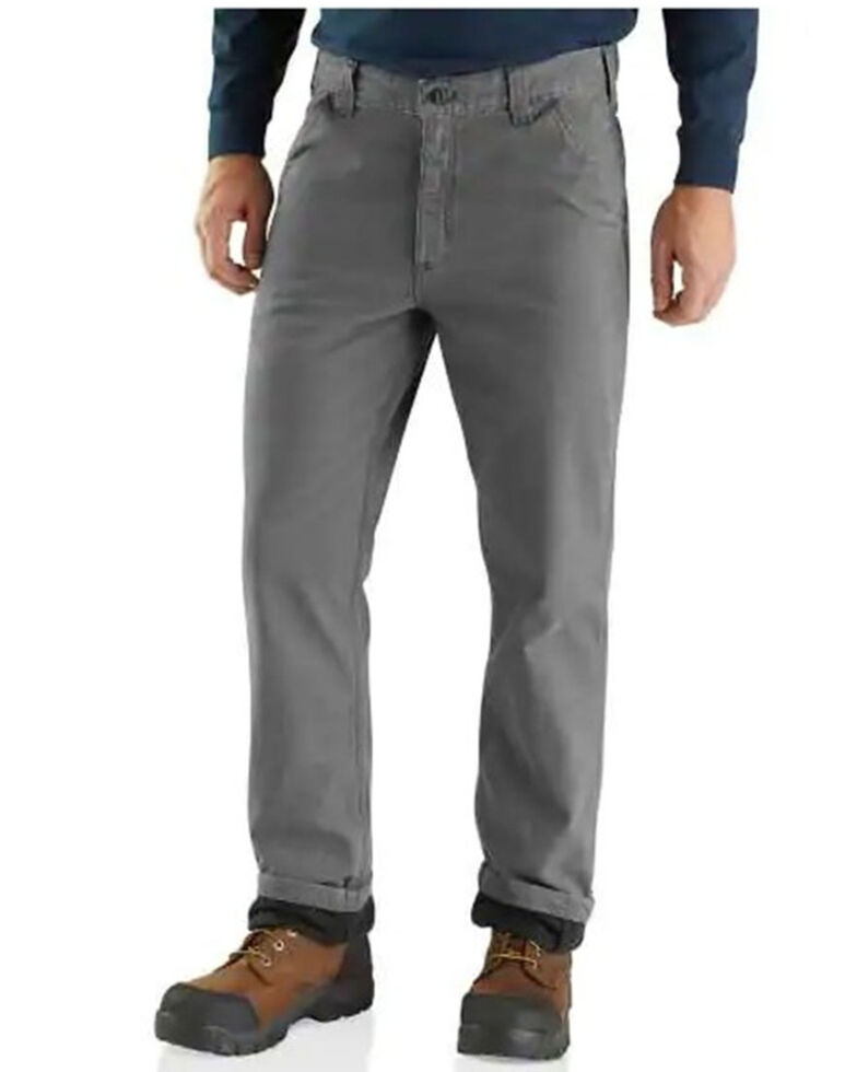 Carhartt Men's Rugged Flex Rigby Knit Lined Dungaree Work Pants - Big , Charcoal, hi-res