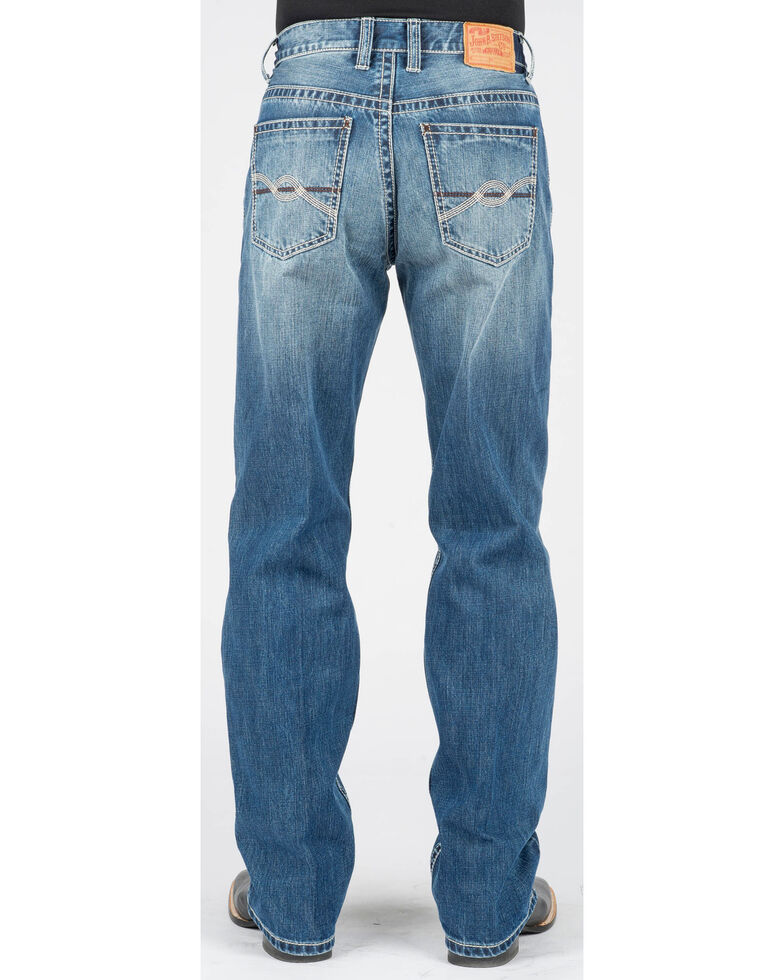 Stetson Men's Modern Relaxed Fit Bootcut Jeans, Blue, hi-res