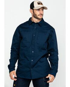 Hawx® Men's Navy Stretch Twill Long Sleeve Work Shirt , Navy, hi-res