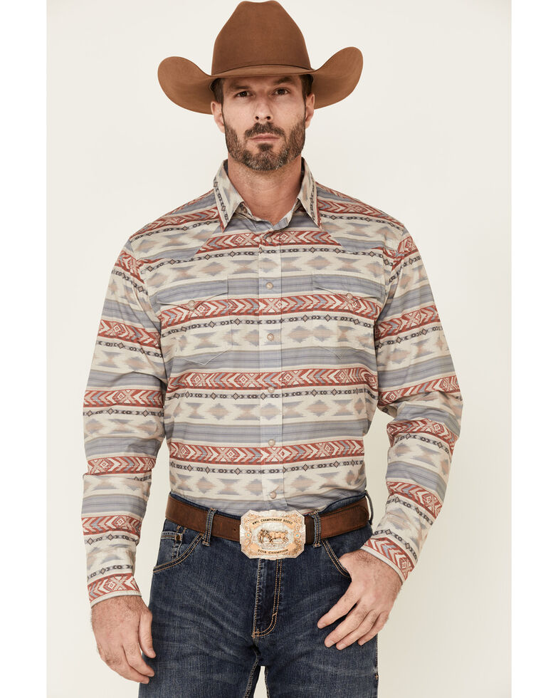 West Made Men's Windswept Aztec Stripe Long Sleeve Snap Western Shirt , Red, hi-res