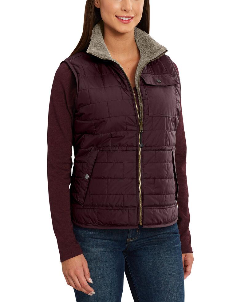 Carhartt Women's Burlwood Amoret Sherpa-Lined Vest , Wine, hi-res