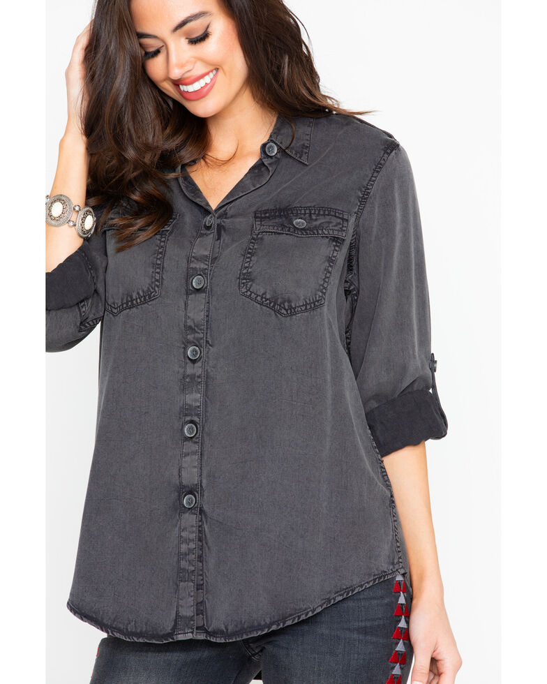 Ariat Women's Solid Fade Rolled Button Relaxed Long Sleeve Shirt , , hi-res
