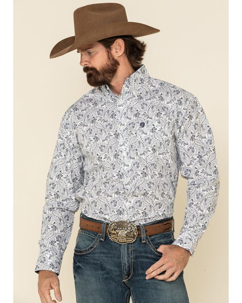 George Strait By Wrangler Men's White Paisley Print Long Sleeve Western Shirt - Big , White, hi-res