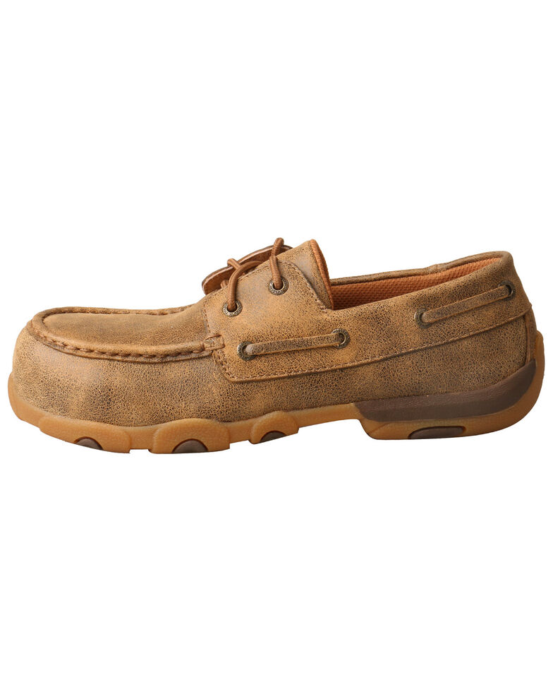Twisted X Women's Driving Moccasin Shoes - Composite Toe, Brown, hi-res