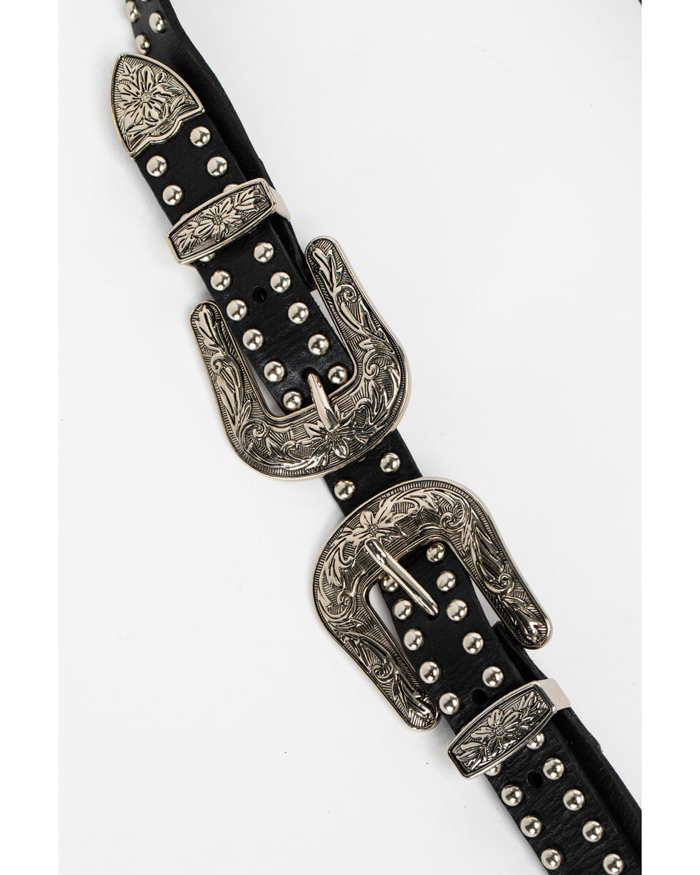 Idyllwind Women's Hey Stud Double Buckle Belt, Black, hi-res
