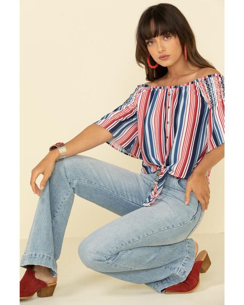 Rock & Roll Denim Women's Americana Stripe Off Shoulder Crop Top, Red/white/blue, hi-res