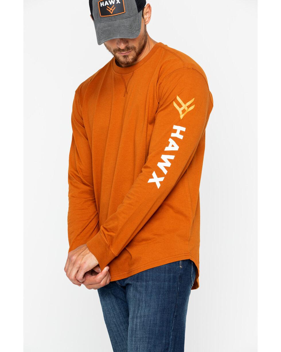 Hawx® Men's Logo Long Sleeve Crew Work Tee , Dark Orange, hi-res