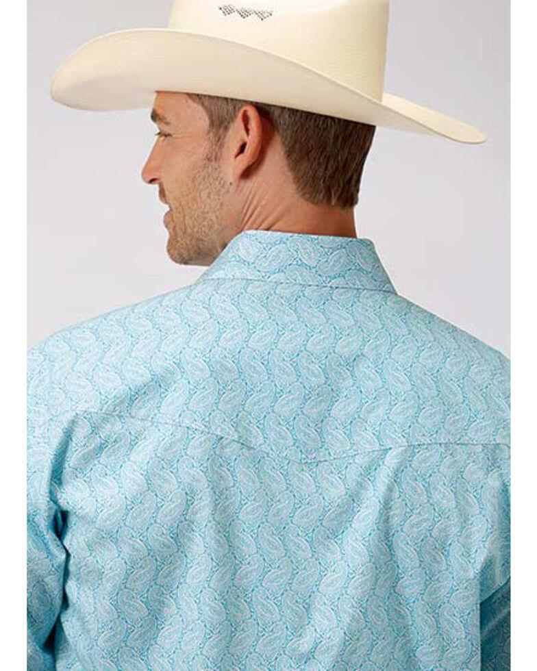 Amarillo Men's Oasis Nested Paisley Print Long Sleeve Western Shirt , Blue, hi-res