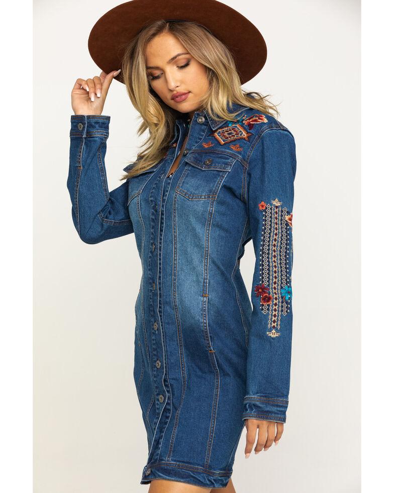 Stetson Women's Embroidered Denim Jacket Dress, Blue, hi-res