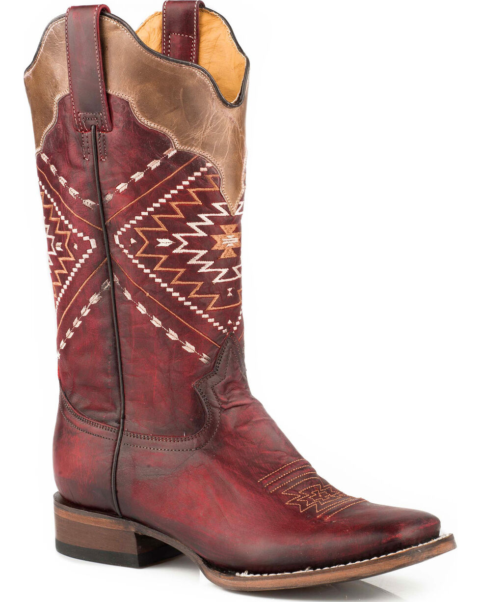 Roper Women's Burgundy Burnish Leather Boots - Square Toe , Red, hi-res